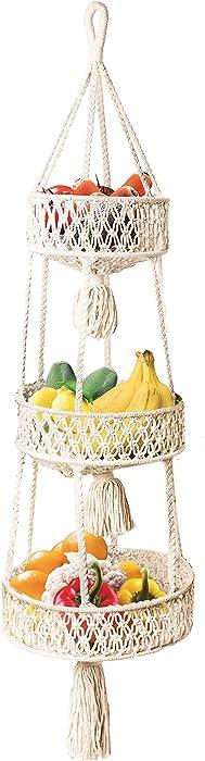 LIVALAYA Macrame 3 Tier Hanging Organizer Baskets, Macrame Hanging Fruit Basket Rope Boho Wall Decor with Woven Storage Baskets for Craft Room, Bathroom, Bedroom, or Kitchen Organization and Storage