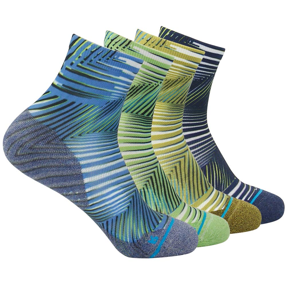HUSO Lightweight Funny Colorful Seamless Sports Quarter Ankle Socks for Men Women 4 Pairs (Multicolor, L/XL) by HUSO