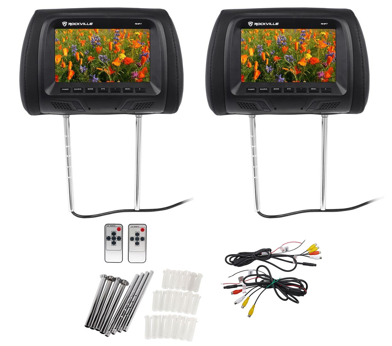 Pair Rockville Rhp7 Bk 7 Black Tft Lcd Car Headrest Tv Wiring Diagram For Cable Box To Dvd Monitors W Speakers Ir Electronics