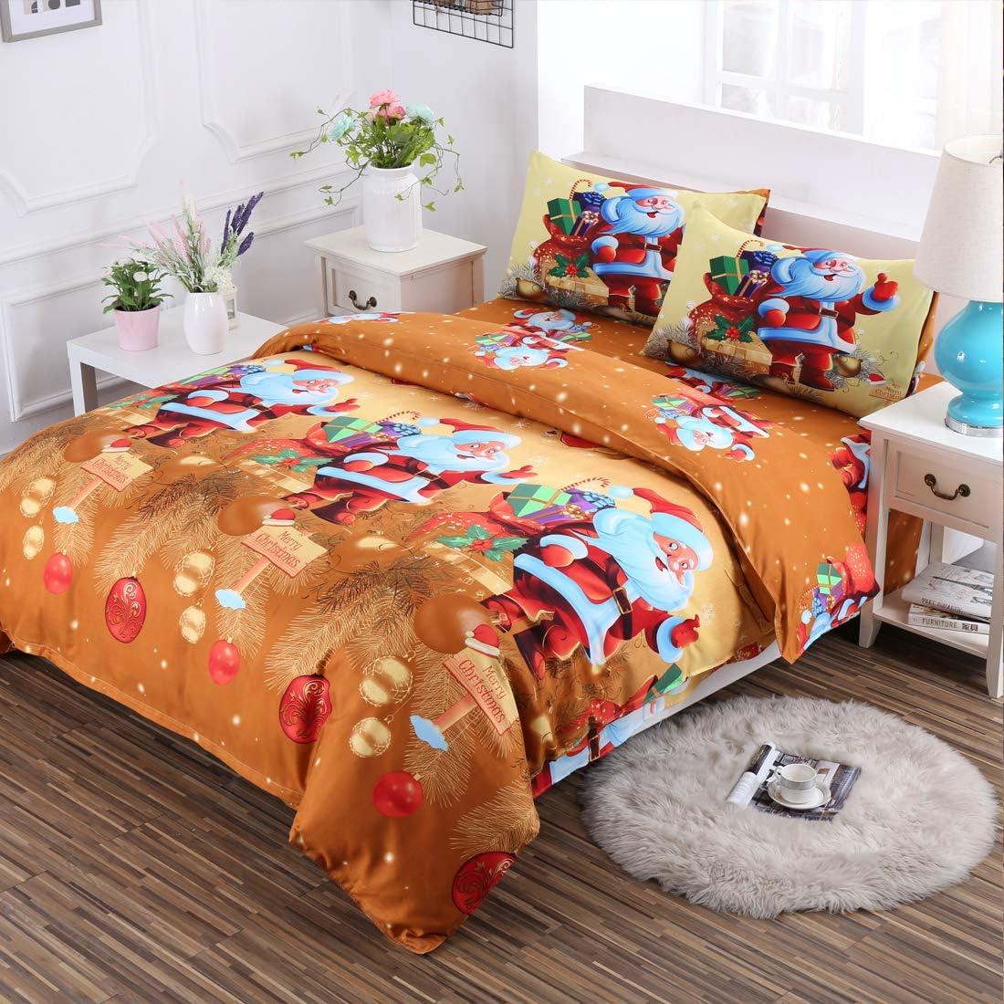 Oliven 4 Pieces 3D Christmas Bedding Set Full Size Cartoon Santa Claus Duvet Cover Flat Sheet Standard Pillowcases-Gold,Christmas Home Decor