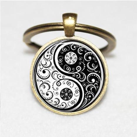 Blanco y Negro Yin y Yang y Yin Yang llavero, llavero, Yoga ...