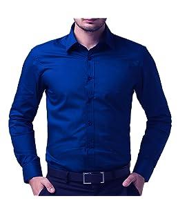 Super weston Men's Regular Fit Shirt (65654666655_Blue_Large)