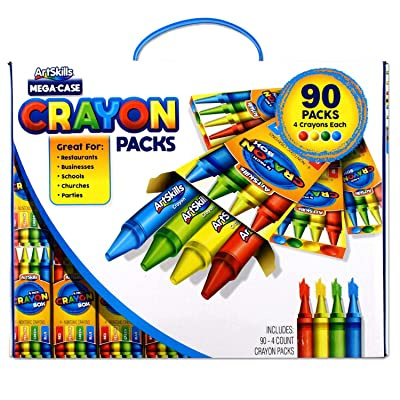 ArtSkills Crayon Pack Mega Case, Back to School Supplies, Includes 90 Packs of 4-Count, Total of 360 Crayons, Red, Yellow, Green, and Blue Crayons, Assorted (PA-6040): Office Products