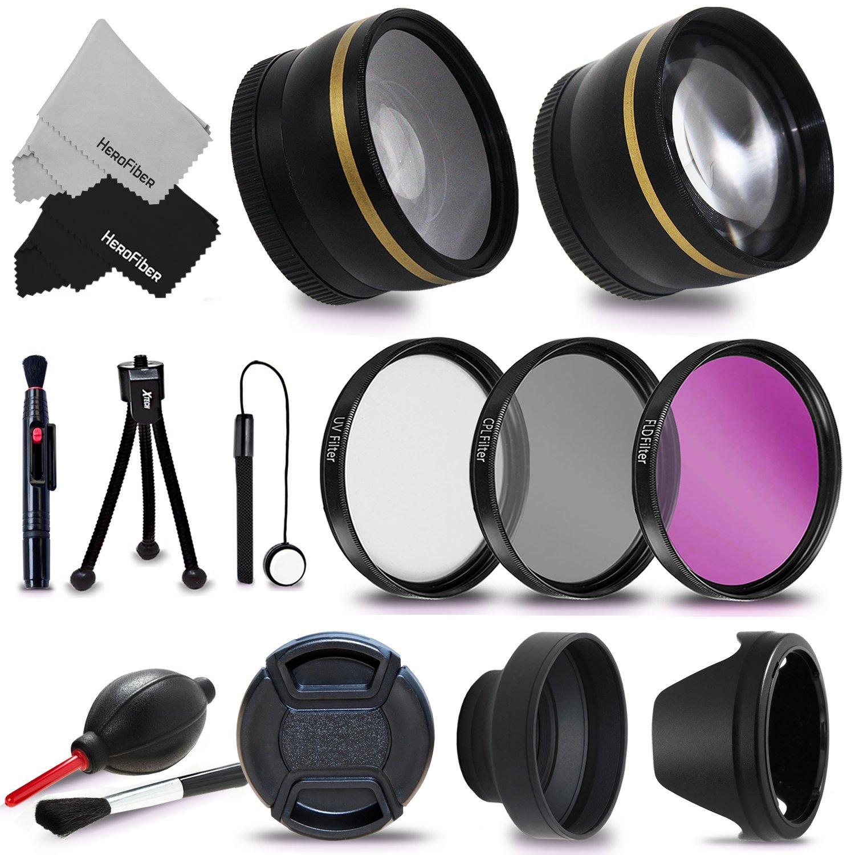 58mm Accessory Kit for CANON EOS 80D 70D EOS 60D EOS Rebel T7i T6 T6i T5 T5i T4i T3 T3i T2i XTi 1200D 1100D 700D 650D 600D 550D EOS M DSLR Cameras (58mm Lens Accessories Kit) by HeroFiber
