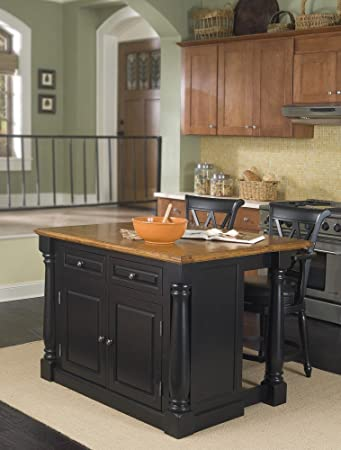 Marvelous Home Styles 5008 948 Monarch Kitchen Island With 2 Stool, Black And  Distressed Oak
