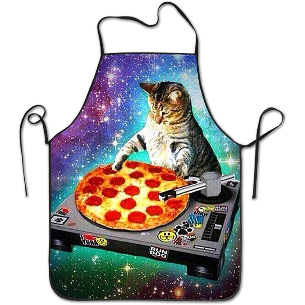 starobosエプロンDJ Pizza Catホームよだれかけエプロンレディースメンズガールズキッズギフトキッチン用デコレーション   B07F7FPG4Y