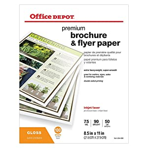 Office Depot Professional Brochure and Flyer Paper, Glossy, 8 1/2in. x 11in, 50 Lb, Pack of 100 Sheets, 124213