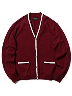 Wool Tipped V-neck Cardigan 11-15-1039-048: Burgundy