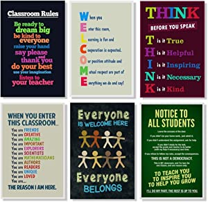 Set of 6 Classroom Rules Educational Inspirational for Teachers School Supplies for Classroom School Decor Teaching Toddler Kids Elementary Learning Decorations Poster Set Bundle