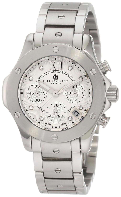 Damen Charles - Hubert Silver Dial Chronograph Armbanduhr STAINLESS STEEL