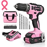"""WORKPRO 20V Pink Cordless Drill Driver Set, 3/8"""" Keyless Chuck, 2.0 Ah Li-ion Battery, 1 Hour Fast Charger and 11-inch Storag"""