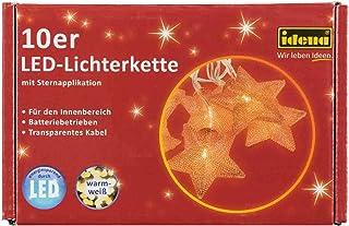 Idena 30112Catena luminosa decorativa a forma di stella con 10LED di luce bianca calda e timer, circa 165cm, in plastica e rame