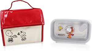 Finex Snoopy Insulated Thermal Food Bag + Stainless Steel Compartment Bento Box with Lid Set for snack day trip picnic