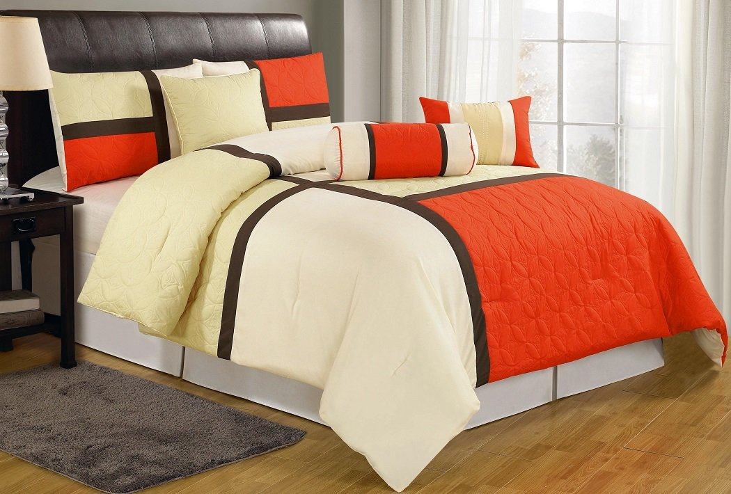 7-Piece Quilted Patchwork Comforter Set, California King, Orange/Beige