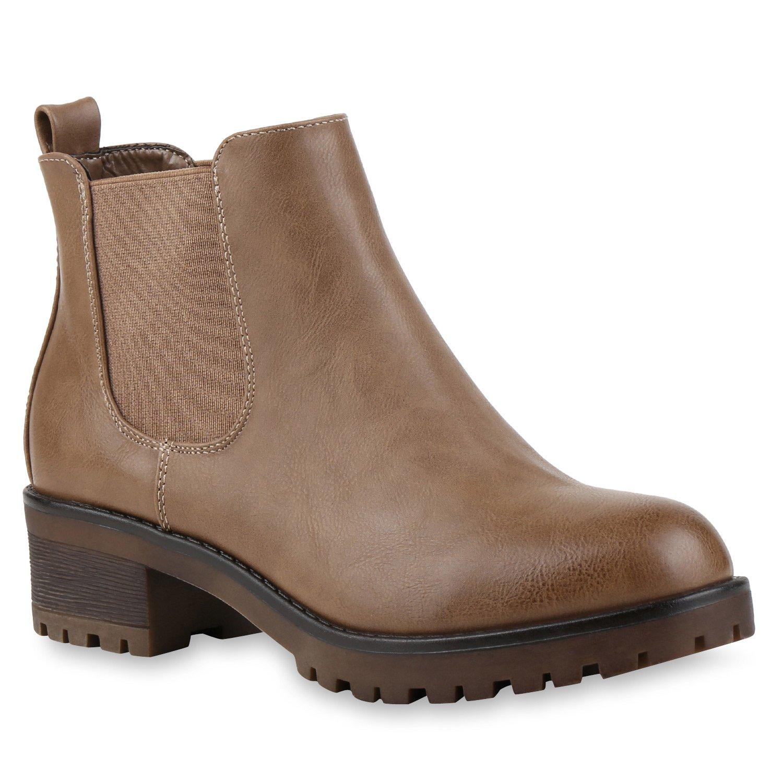 Stiefelparadies Damen Stiefeletten Chelsea Boots mit Blockabsatz Profilsohle Plateau Vorne Flandell Khaki Glatt Bernice