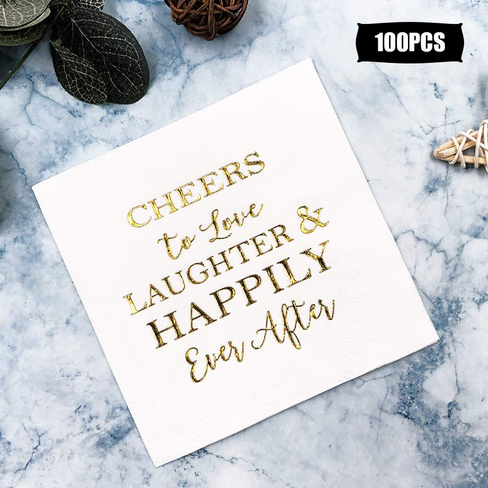 Wedding Napkins Love Laughter and Happily Ever After Bridal Shower Napkins 100 Count by HAODOU
