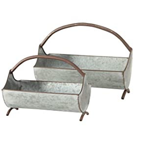 WHW Whole House Worlds Farmers Market Galvanized Long Planters, Set of 2, Chicken Trough Shaped, Zinc, Basket Handle, 16 and 11 Inches