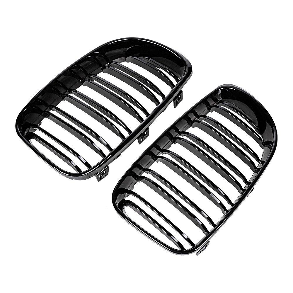 Glossy Black Double Line Front Kidney Grille For E81 E87 E82 E88 120i 128i 130i 135i Selected