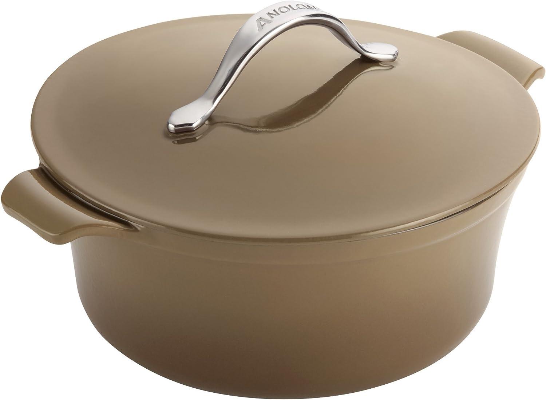 Anolon Vesta Cookware Cast Iron Dutch Oven, 5-Quart Round, Umber