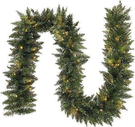 Decoración Guirnalda de Navidad, decoración Ligera o Festiva para Puertas Interiores o Exteriores para escaleras, Guirnalda navideña 9FT: Amazon.es: Hogar