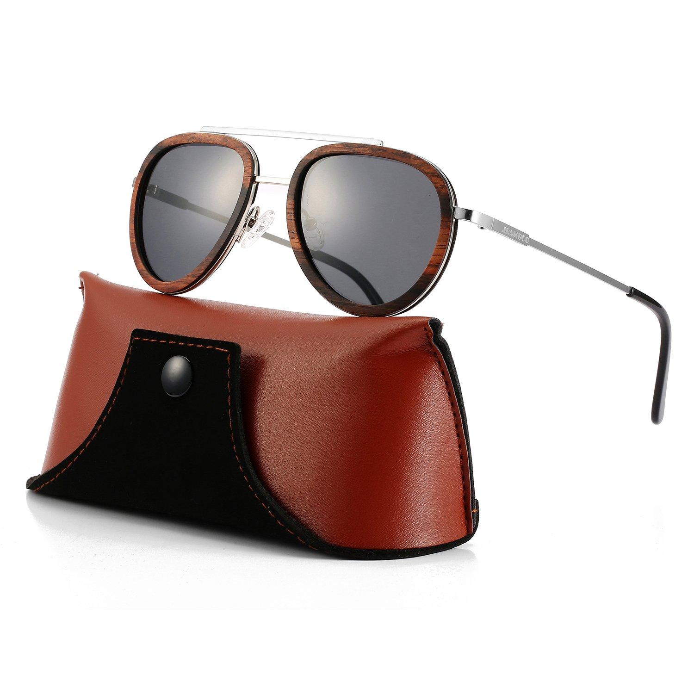 Aviator Sunglasses Wood Polarized for Men and Women, Metal Aviators Style Wooden Glasses Frame Shades Eyewear (Silver Frame Grey Lens)