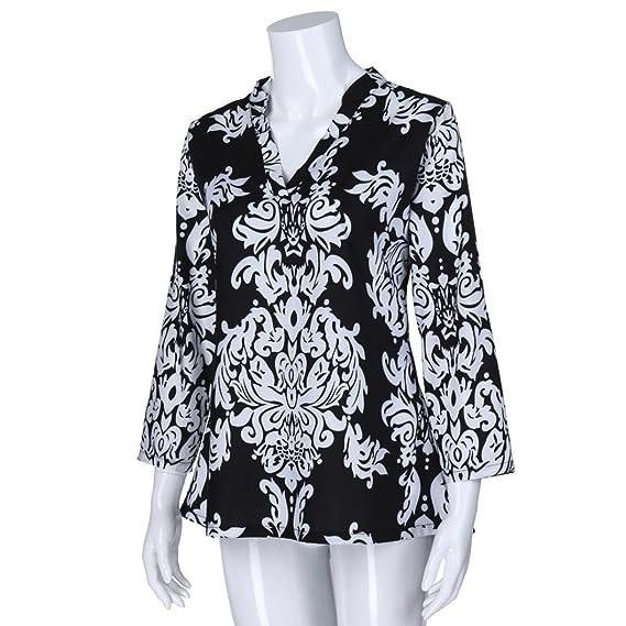 ... Hombre Estampadas Florales de la túnica de Las Mujeres de la Moda Blusa Top con Cuello de Pico de la Manga del Rollo 3/4: Amazon.es: Ropa y accesorios