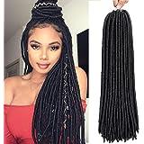 AMELI 6 Packs Dreadlocks Crochet Braids Bomba Fauxs Locs Soul Hair straight goddess locs crochet hair Extensions (18INCH…