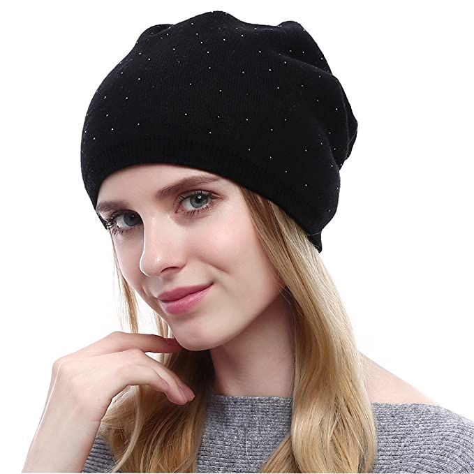 6dee09d4b0014 Black Beanie Hats with Rhinestones Patedan Winter Warm Knit Baggy Beanie  Hat Ski Slouchy Chic Cap