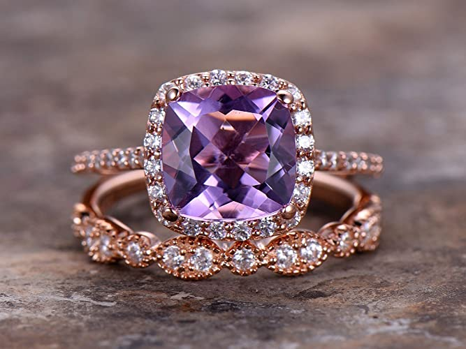 Amazon Com 2pcs Amethyst Wedding Ring Set 8mm Cushion Engagement