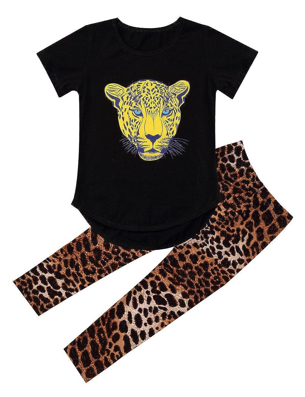 Girls Leopard Head Print T-shirt Short Sleeve Tops Skinny Legging Pants Clothing Set