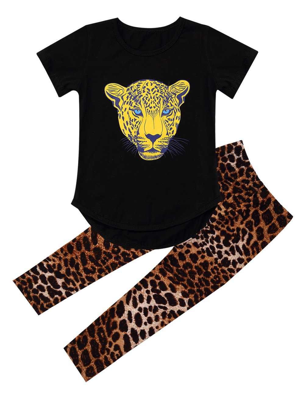 Kidlove Leopard Head Girls Pajama Set Outfit (2-4T, Short-Black)