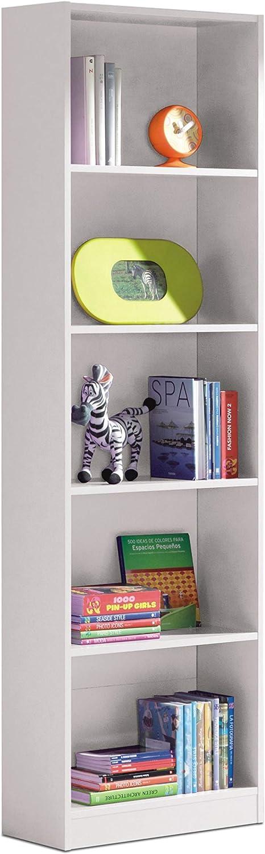 Habitdesign 005422A - Estantería Juvenil Dormitorio 6 baldas, librería Vertical, Modelo I-Joy, Medidas: 180 cm (Alto) x 52 cm (Ancho) x 25 cm (Fondo) (Blanco Artik)