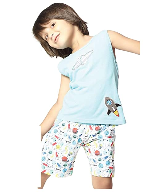 e37327cc3f6 Night Suit for Toddlers - Blue and White Color - Soft Sinker Material - Printed  Night Suit - Sleeveless Tshirt and Bermuda Set - Available for 2 3 4 5 6 ...