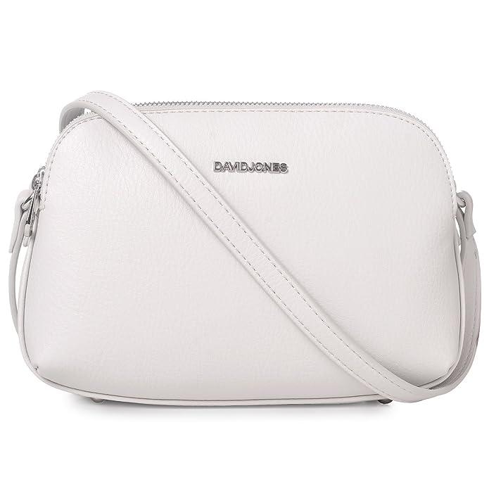 2478a5e10a19f David Jones - Damen Mittelgroße Umhängetasche Viele Taschen - Satteltasche  Schultertasche - Basic Frauen Leder Reißverschluss Handtasche - Multi  Pocket ...
