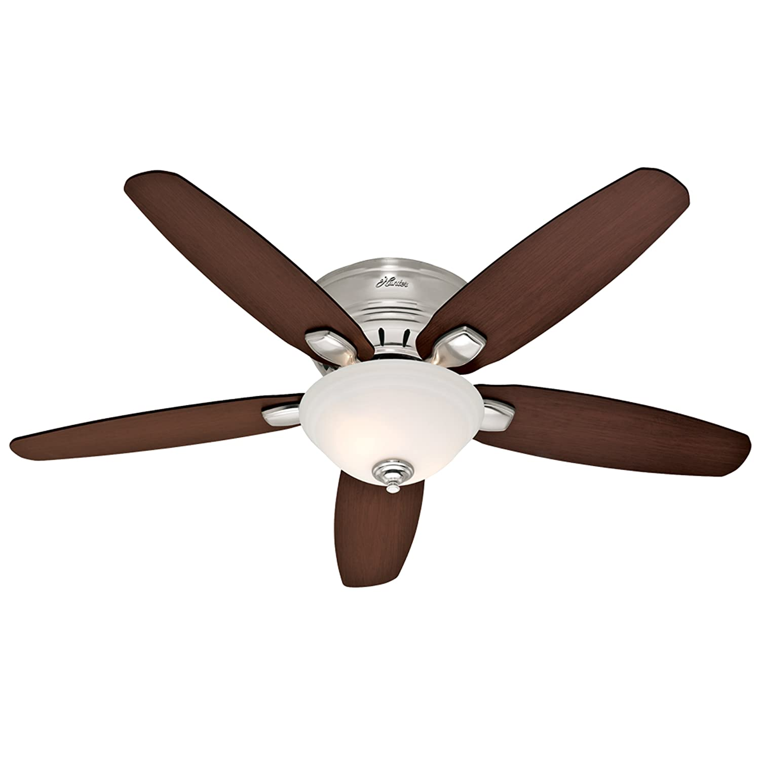 Hunter 28701 Fremont 52-Inch 5-Blade Single Light Ceiling Fan, Brushed Nickel with Roasted Walnut Stained Oak Blades and Frosted Glass Bowl