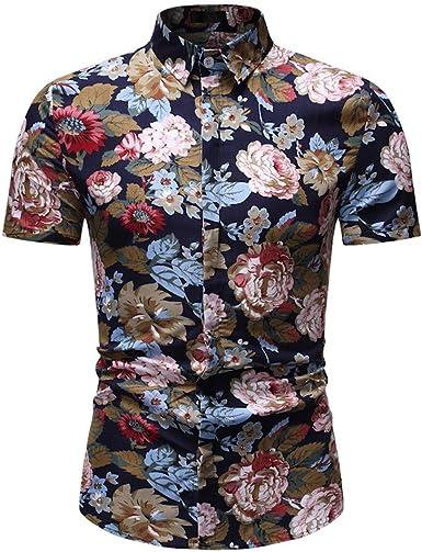 CAOQAO Camisas Hombre Manga Corta Camisa Hawaiana Hombre Casual Nueva Variedad de Moda de Estampados Florales: Amazon.es: Ropa y accesorios