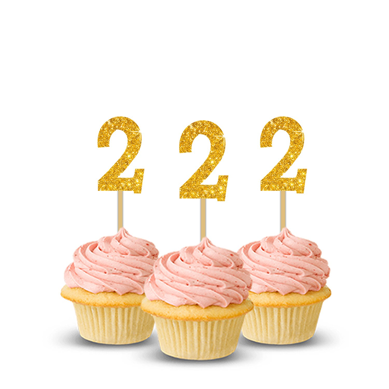 Party PropzTM 2nd Birthday Cup Cake Topper Set Of 14 Two Decoration Happy Supplies