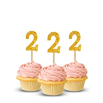 Party PropzTM 2nd Birthday Cup Cake Topper Set Of 14 Two