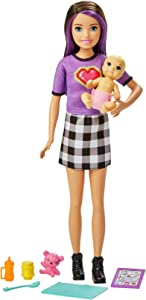 Barbie Skipper Babysitters Inc. Doll & Accessories Set with 9-in / 22.86-cm Brunette Skipper Doll, Baby Doll & 4 Storytelling Pieces for 3 to 7 Year Olds
