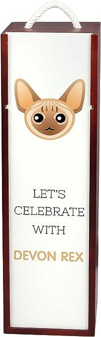 Devon Rex, Vamos a Celebrar con un Gato, una Caja de Vino con el Bonito Gato ArtDog: Amazon.es: Hogar