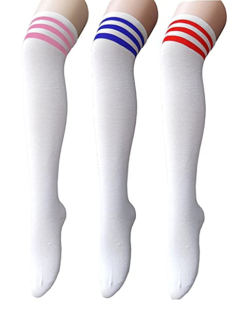 ff0d2baf05a Century Star Women s Casual Athlete Striped Over Knee Thin Thigh High  Tights Long Stocking Socks 3
