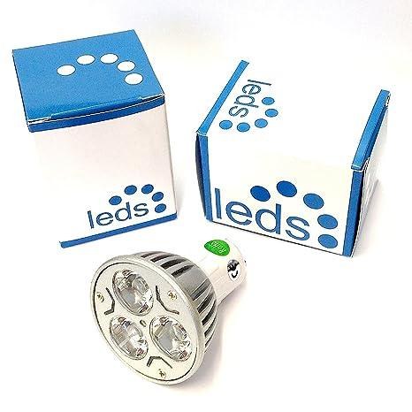 LEDS - BOMBILLA LED GU10 (220V) BLANCO CALIDO 9W 120 grados