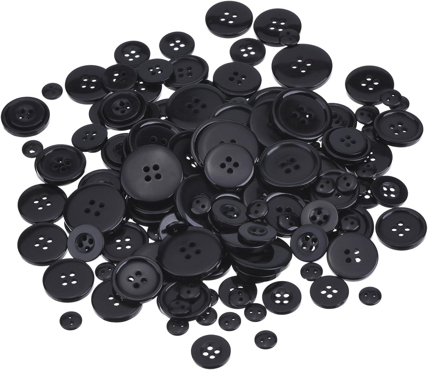 Botones de Resina Negros Juego de Botones Básicos para Costura, Scrapbooking y Adornos de Manualidades, Tamaños Variados, Redondo, 160 Piezas