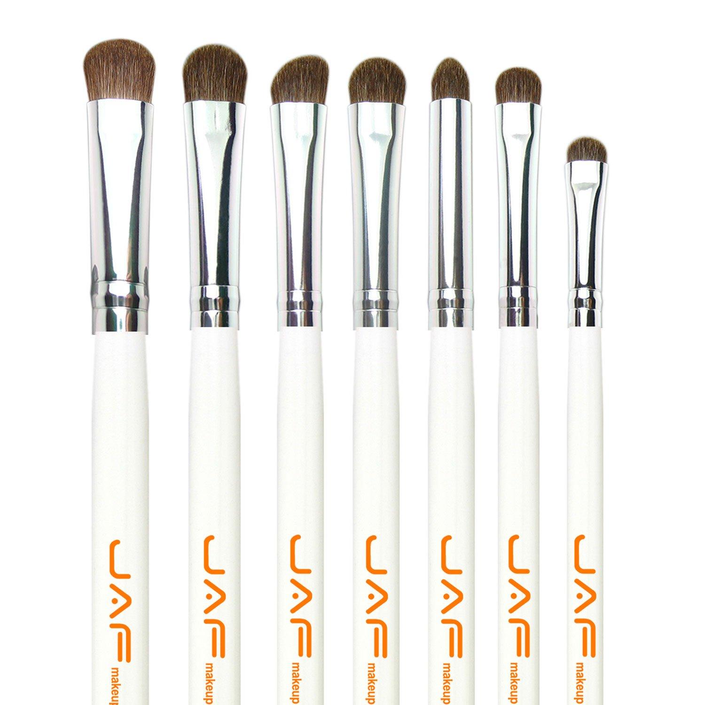 JAF 7-Piece Natural Hair Eye Makeup Brush Set, White