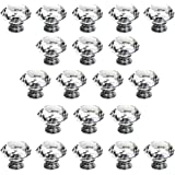 BTSKY 20 PCS Diameter 30mm(1.18inch) Clear Crystal Glass Cabinet Knob Cupboard Drawer Pull Handle, Come with 3 kinds of Screws