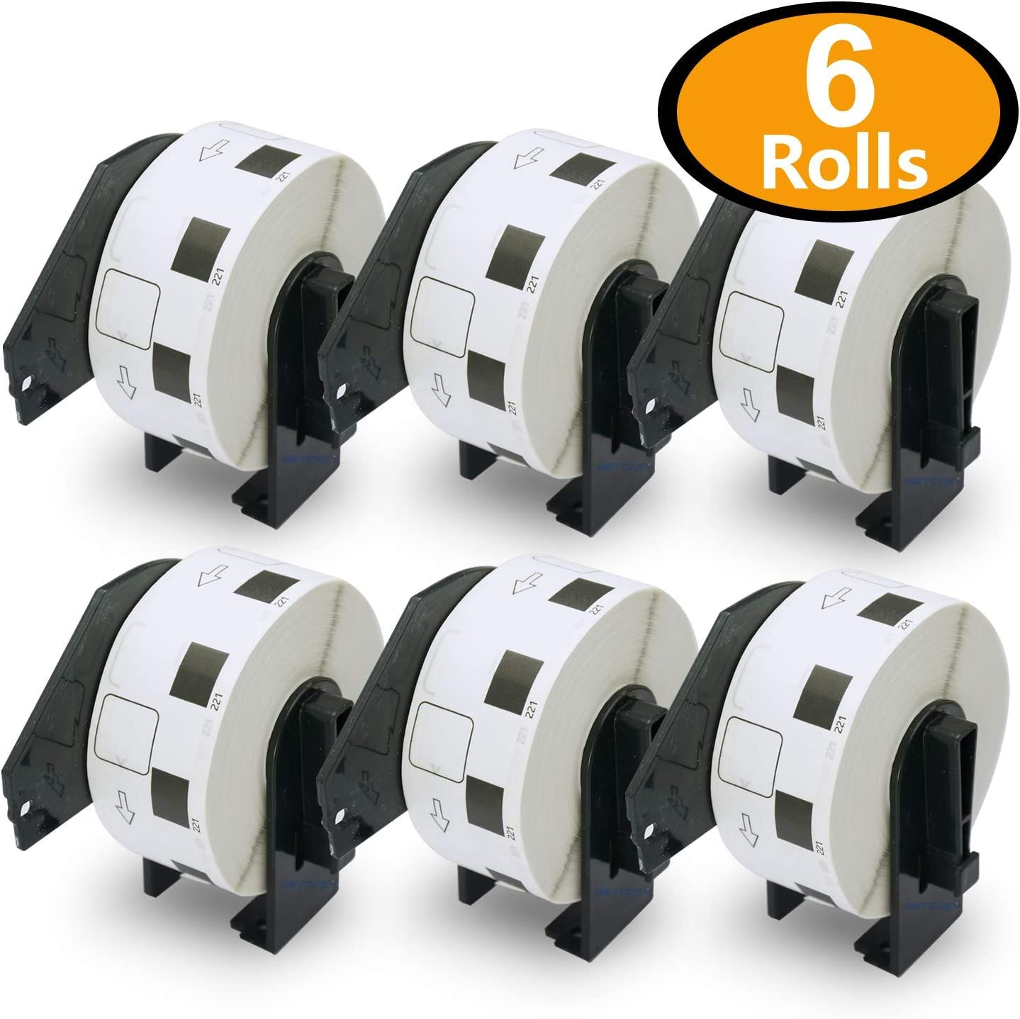 10 Rolls Brother-Compatible DK-11221 23mm x 23mm 1000 Labels Per Roll With One Refillable Cartridge