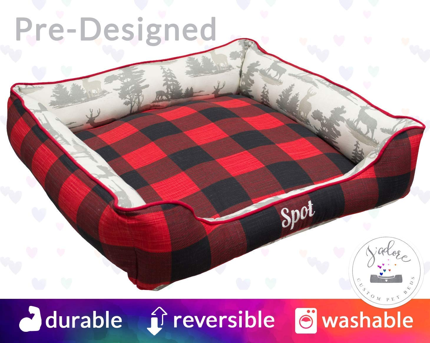 Black Red Buffalo Plaid - Hunting Dog Bed Personalized | Gift for Hunter Deer Forest