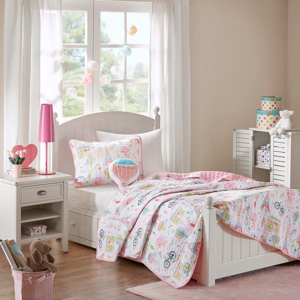 Mi Zone Kids Bonjour Twin Bedding for Girls Quilt Set - Pink, French Paris – 3 Piece Kids Girls Quilts – Ultra Soft Microfiber Quilt Sets Coverlet MZK13-108