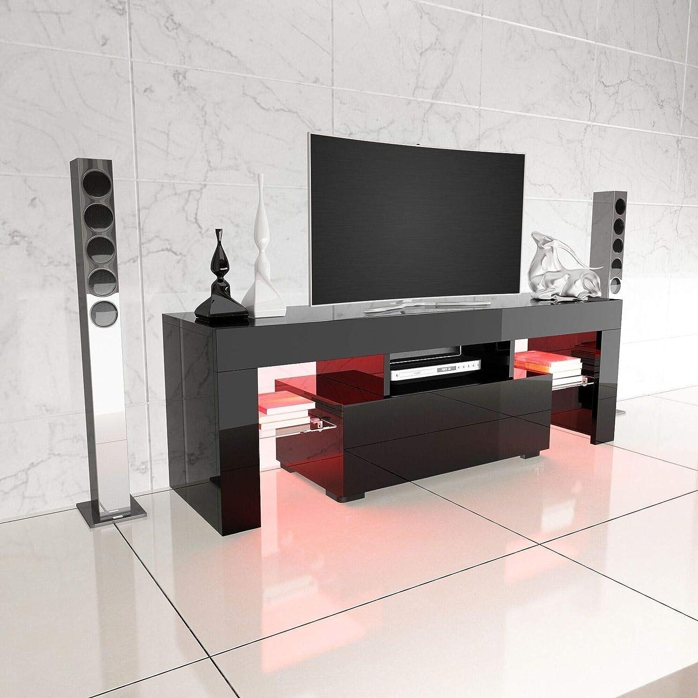 Generic cm-Schrank, V-Stand, 13 Ständer, 130 cm, Hochglanz-Tisch, Entertai Schwarz, modern, TV LED RGB