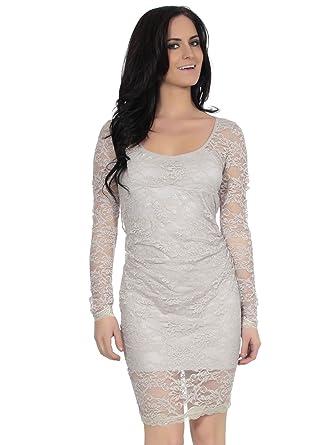 Klassisches Abendkleid Spitze Overlay ein Open Backless Design Grau ...